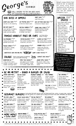 Restaurant menu for George's in downtown canton